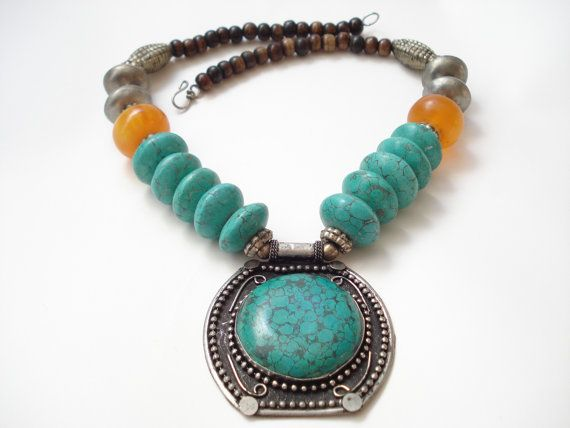 Nepalese Genuine Turquoise Necklace Tibetan Collectible Ethnic Necklace Tibetan Silver Repousse and Yak Bone Beads Silver Repousse Pendant