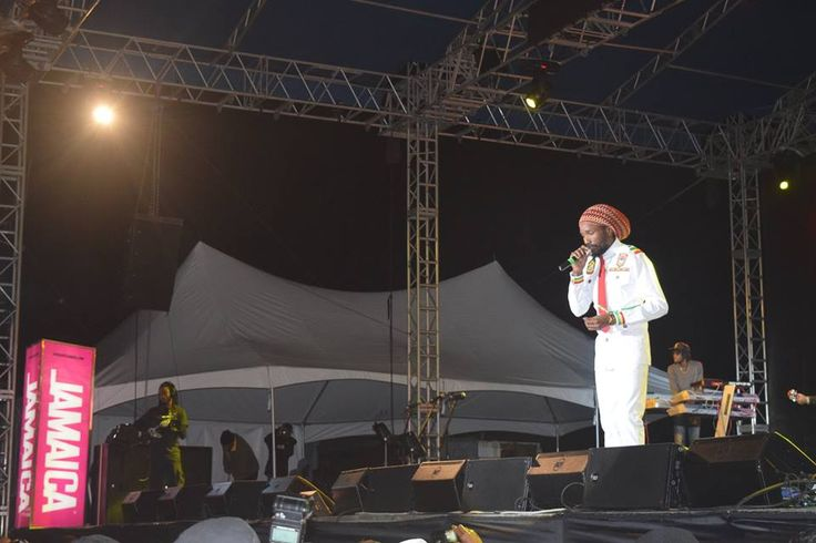 Reggae revival artiste Kabaka Pyramid performing on Night 1 of Rebel Salute 2016. — at Grizzly's Plantation Cove, St. Ann, Jamaica .