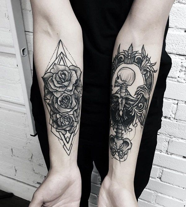 Flower and skull forearm tattoo - 110+ Awesome Forearm Tattoos <3 <3