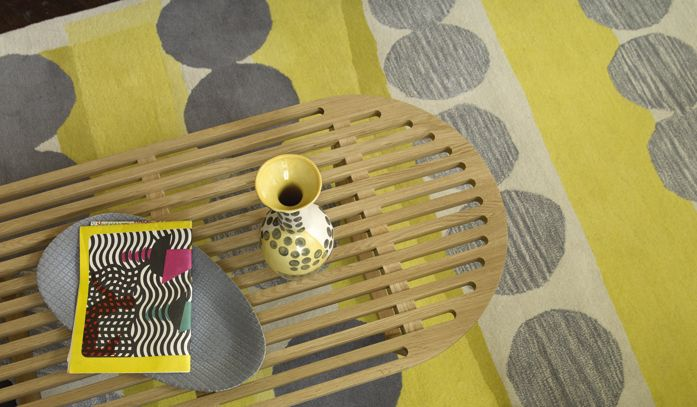 Birds eye view of the zingy yellow Happer rug and Royston coffee table #Habitat