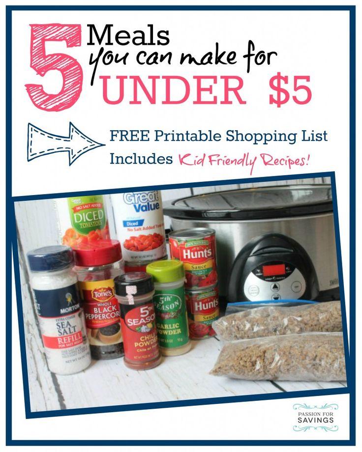 Cheap Dinner Ideas! 5 Meals for Under $5 Each! Love this Easy Dinner Recipe Plan!