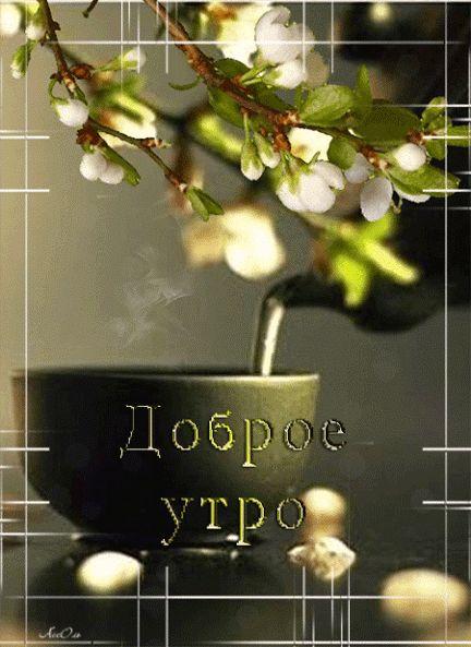 Открытки гифки доброе утро с цветущими деревьями, прелесть картинки стол