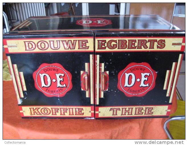 Douwe Egberts 60x30X27 cm, met 2 deurtjes , toonbank model winkle kastje, reklame voor de koffie en thee blik doos
