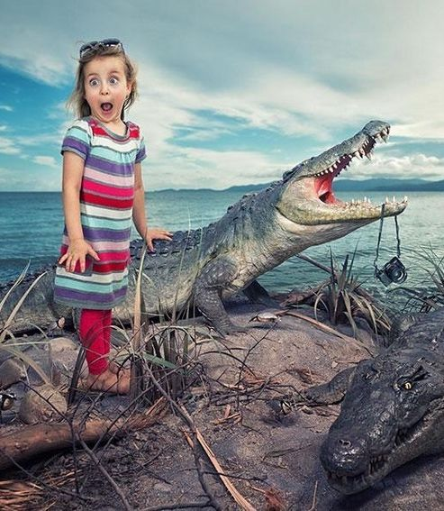 Father John Wilhem used Photoshop to create whimsical portraits of his three daughters.
