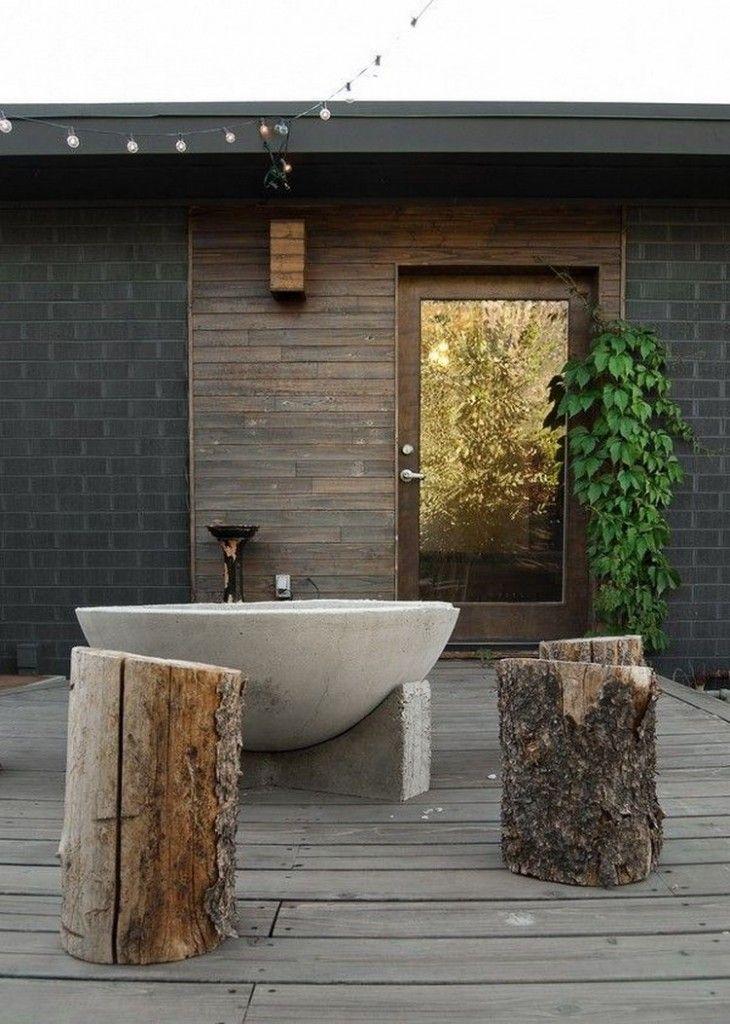 Buitenbad | badkuip buiten | hout | terras - Makeover.nl