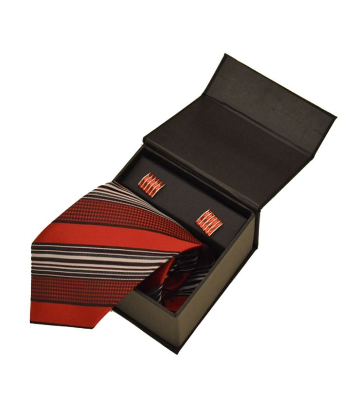Sakshi International Red Micro Fiber Tie And Cufflink Set