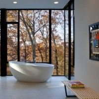 Bathroom at Wissioming2 House, Maryland by Robert M. Gurney Architect: Bathroom Design, Black Window, Dreams Home, Gurney Architects, Modern Bathroom, Wissioming2 Houses, Interiors Design, Steel Window, Houses Design