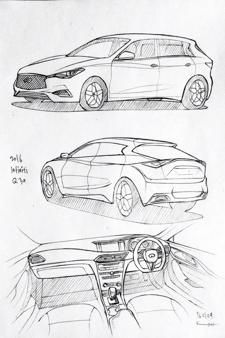 Car drawing 2016 Honda Infiniti Q30 Prisma on paper Kim J H