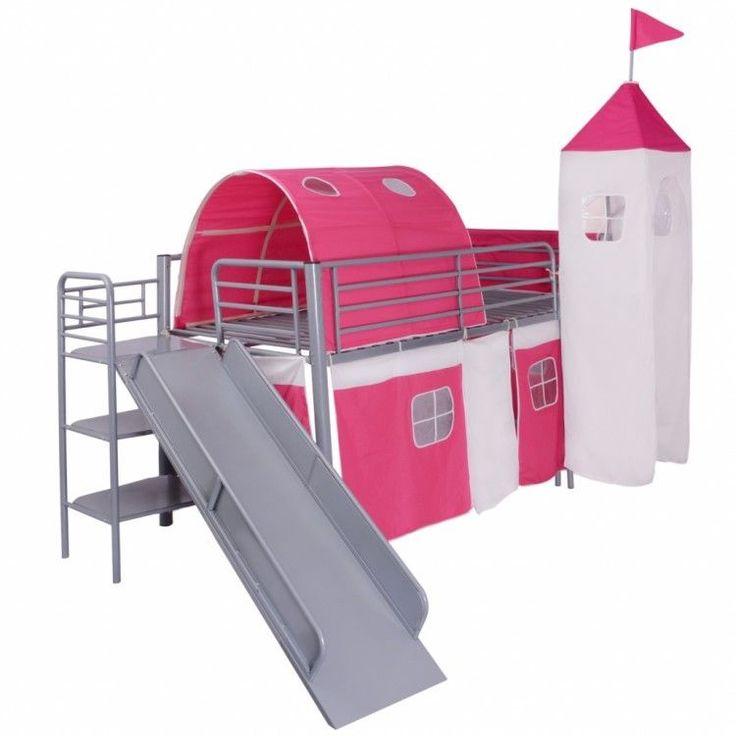 Childrens Loft Bed Steel Slide Ladder Castle Themed Pink Tent Bunk Bedroom Home #ChildrensLoftBed