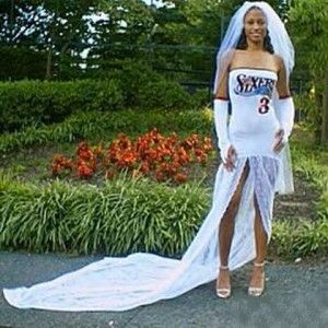 Replace the Sixers with a Packers logo and the veil with a cheese hat and I think we'll be good to go.