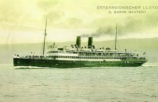Il 17 luglio 1914, il Baron Gautsch (Il nome venne dato in onore del Barone Paul Gautsch von Frankethurn, che fu dapprima Ministro dell'Educazione e in seguito Ministro degli Affari Interni dell'Impero Austro-Ungarico) viene ceduto alla Imperial Regia Marina da Guerra Austriaca per il trasporto delle truppe verso Cattaro (Kotor) e l'evacuazione dei civili verso le regioni del nord Adriatico.  Una volta assolti i suoi obblighi verso la Marina, il piroscafo rientra in possesso dei Lloyd a…