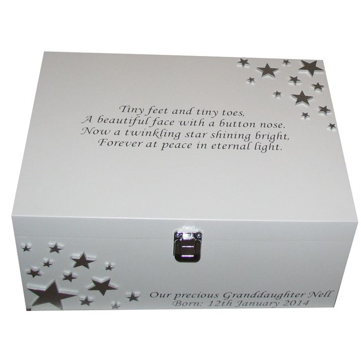 White bereavement box with silver stars and verse on the lid