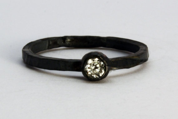 Black Oxidised Stacking Ring with Cubic Zirconia  by asterlingidea, £20.00