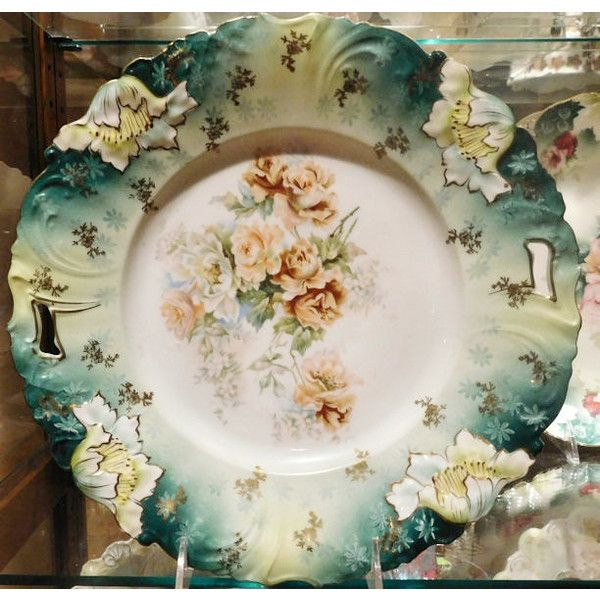 "RS Prussia Antique Porcelain Large Charger 11"" Art Nouveau Victorian 1900s R S Prussia Cake Plate Platter Rare Large Size RS Prussia Germany ($249) found on Polyvore featuring home, kitchen & dining and serveware"
