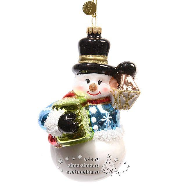 """Елочная игрушка """"Снеговик в цилиндре"""", 16 см, стекло, подвеска — 123326"""