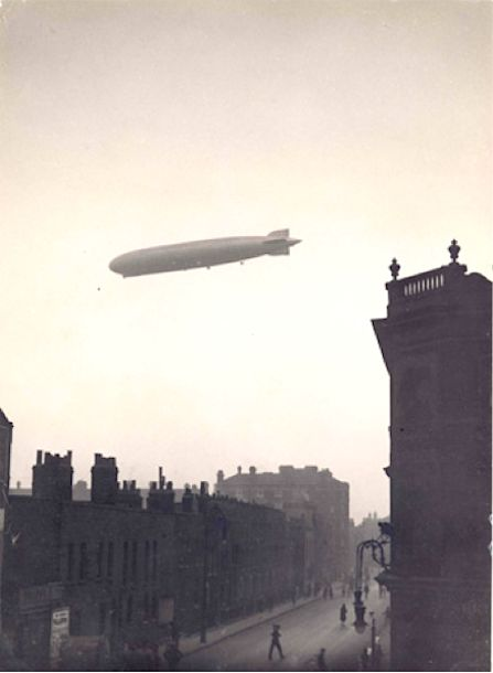 Zeppelin over Cotton Street, Poplar, E14  Image courtesy of Tower Hamlets Local History Library and Archives.