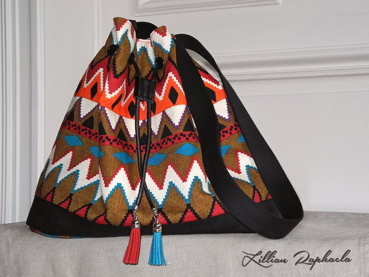 "Bucket Bag ""Santa Fe"" – Shoulder Bag – Drawstring Bag – Sling Bag – Boho Style Purse – Southwestern Fabric Bag – Ethnic Purse – Ethnic Bag by…"