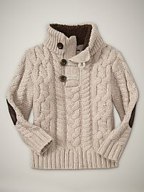 Cream sweater, dark elbow pads. Baby gap