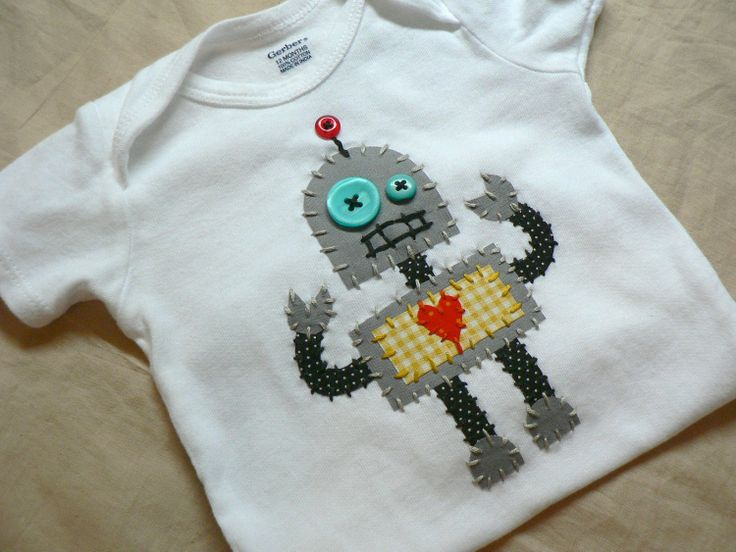 Robot Applique Onesie or shirt Custom Size and Colors. $22.00, via Etsy.