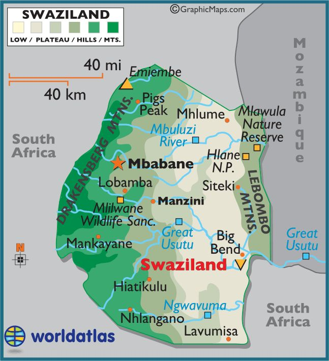 Swaziland,  officially the Kingdom of Swaziland and sometimes called Ngwane or Swatini, is a landlocked country in southern Africa, bordered to the north, south and west by South Africa, and to the east by Mozambique.  Mbabane is the capital