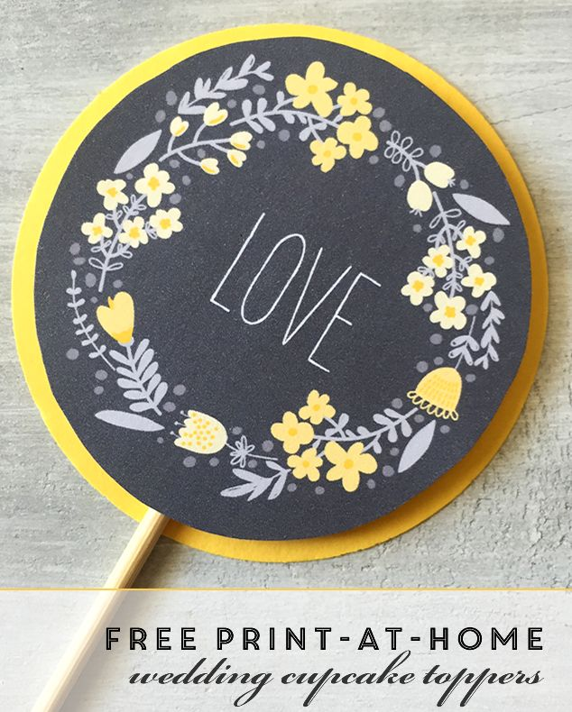 12 best yellow wedding cupcake ideas images on pinterest wedding free printable wedding cupcake toppers with floral garland in yellow and gray junglespirit Images