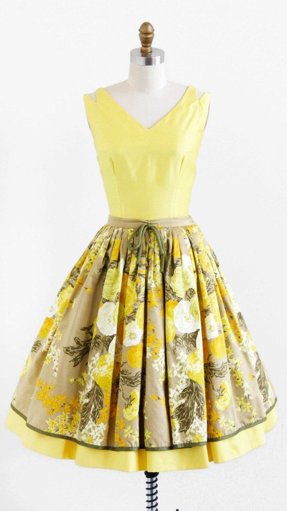 Vintage 1950s Dress 50s Dress Yellow Floral Top And