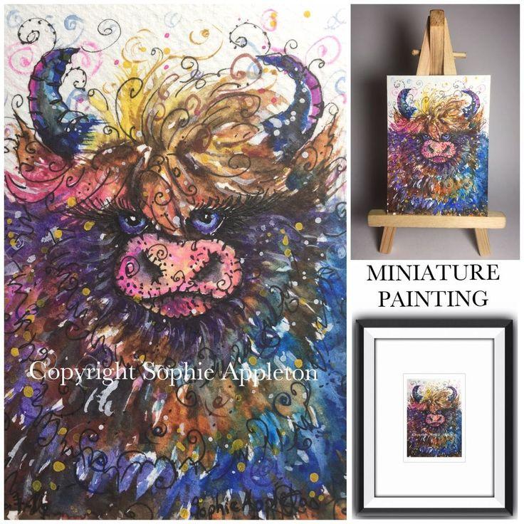 Original Watercolour Painting ACEO miniature HIGHLAND COW by Sophie Appleton #ACEOartcards