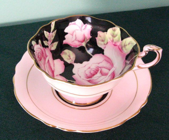 Paragon Vintage Pink Roses on Black Fine Bone China Cup And Saucer Hand Painted