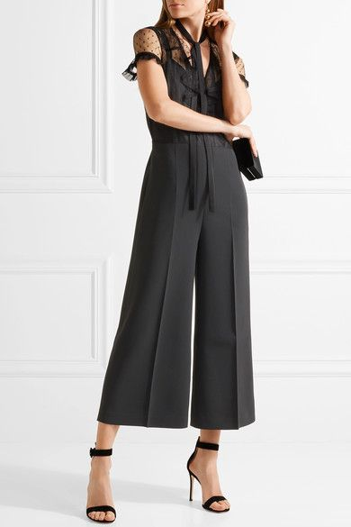 REDValentino - Ruffled Swiss-dot Tulle And Crepe Jumpsuit - Black