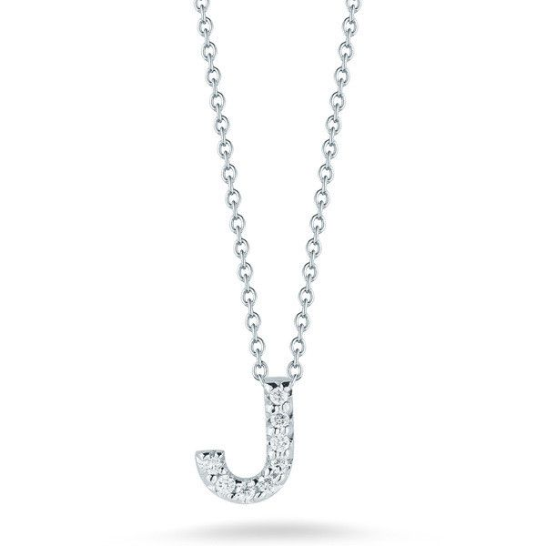 Roberto Coin Initial Thoughts White Gold Diamond Initial J Necklace ($580) ❤ liked on Polyvore featuring jewelry, necklaces, diamond chain necklace, letter charm necklace, initial necklace, white gold chain necklace and diamond charms