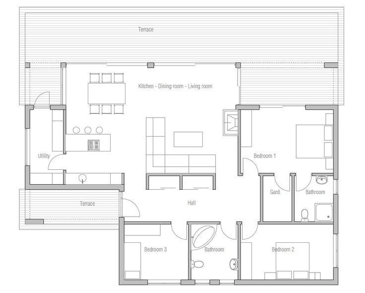 Contemporary home plan with very simple lines and shapes. Affordable to build, three bedrooms and bathrooms.