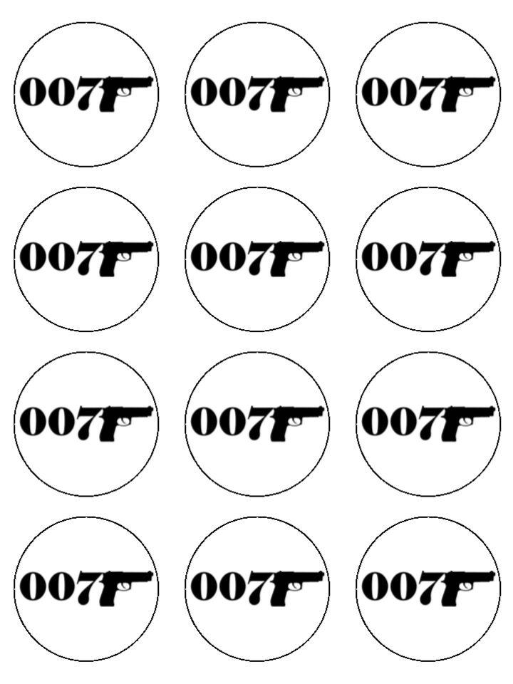 James Bond cupcake toppers