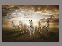 Modern Home Wall Decor oil painting on Canvas:Running White Horse (with framed)