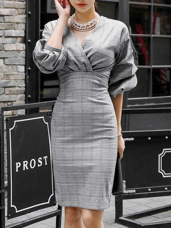 綺麗めシルエット Vネック パフスリーブ レディース ファッション チェック柄 スリム セクシー ワンピース - レディースファッション激安通販 20代·30代·40代ファッション