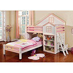 citadel house design white pink finish dual twin size loft bed set - Hausgemachte Etagenbetten Fr Mdchen