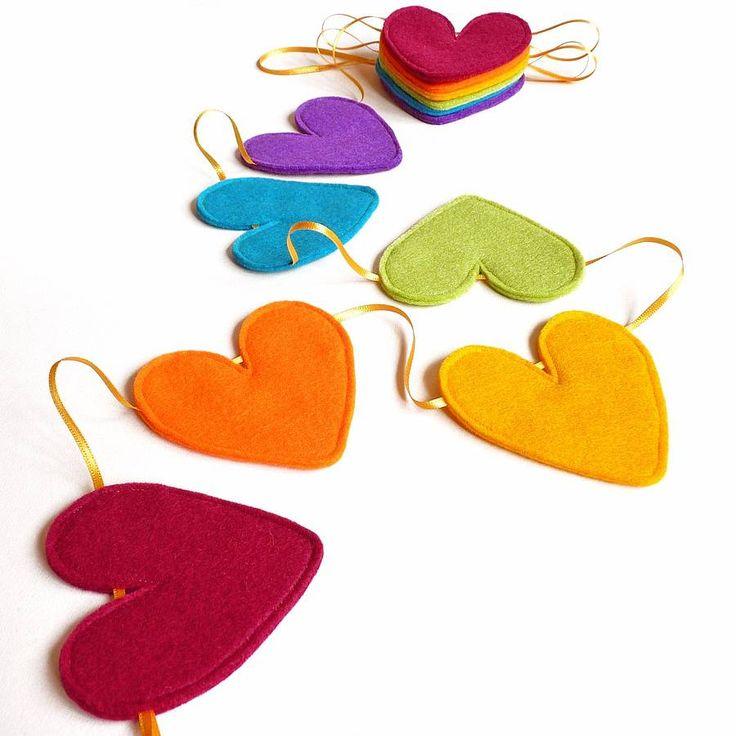 Ribbon And Felt Handmade Heart Bunting