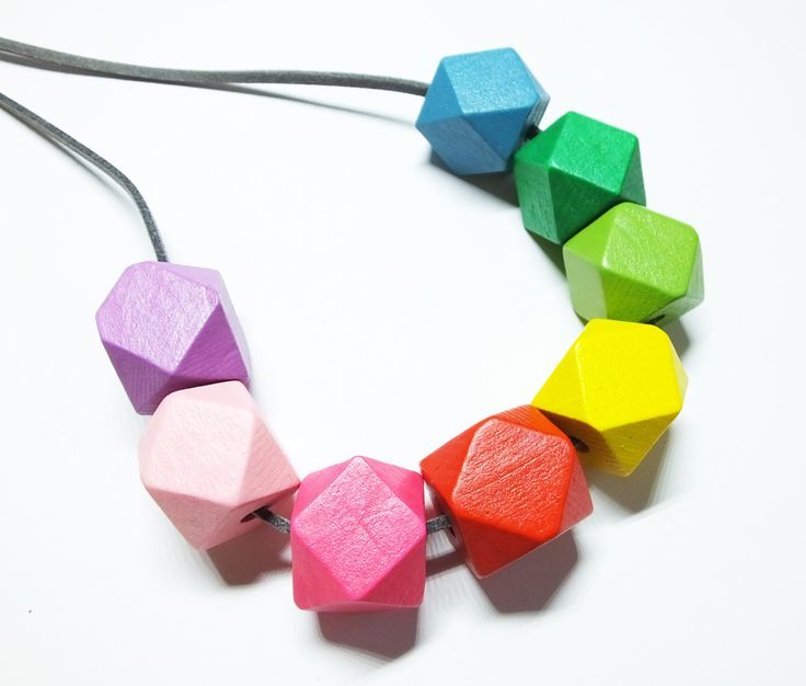Rainbow Necklace, Geometric Necklace, Long Necklace, Hexagon Necklace, Colourful Jewellery, Rainbow Jewellery, Rainbow Gift by TheMountainAndMe on Etsy