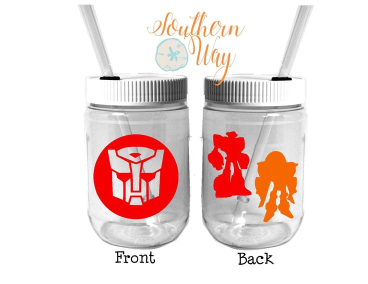Plastic Mason Jar Cups - Party Favor - Plastic Cups - Birthday Party Favor - Rescue Bots - Transformers Party Favor by SouthernWayCompany on Etsy https://www.etsy.com/listing/522385618/plastic-mason-jar-cups-party-favor