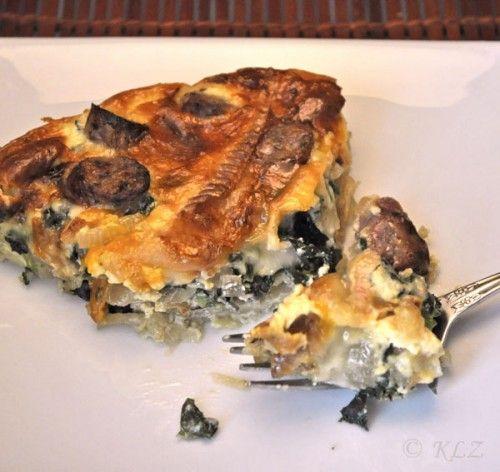 Sausage and Crème Fraiche Quiche, with a potato crust - new for me ...