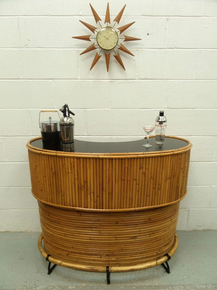 Retro Vintage 50s 60s Bamboo Cocktail Home Drinks Bar Cabinet Atomic Tiki Era