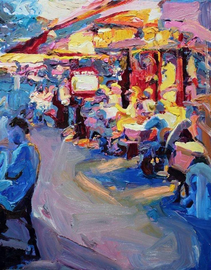 """Richard Claremont @RClaremont  """"le petit cafe"""" 35X45 #australianartist #oilpainting #modernart"""