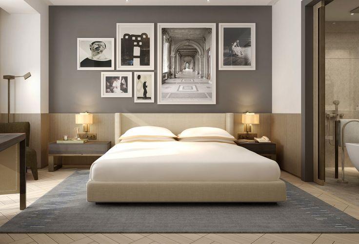 feature wall, bedroom, grey wall, picture frames. desalles flint