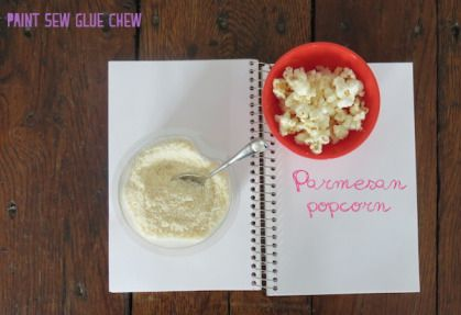 Customise simple popcorn with these 4 easy to make recipes. 4 awesome recipes - Parmesan Cheese Flavour // Paint Sew Glue Chew