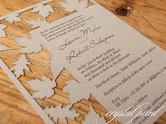 A new design. Laser cut Autumn Leaves invite.