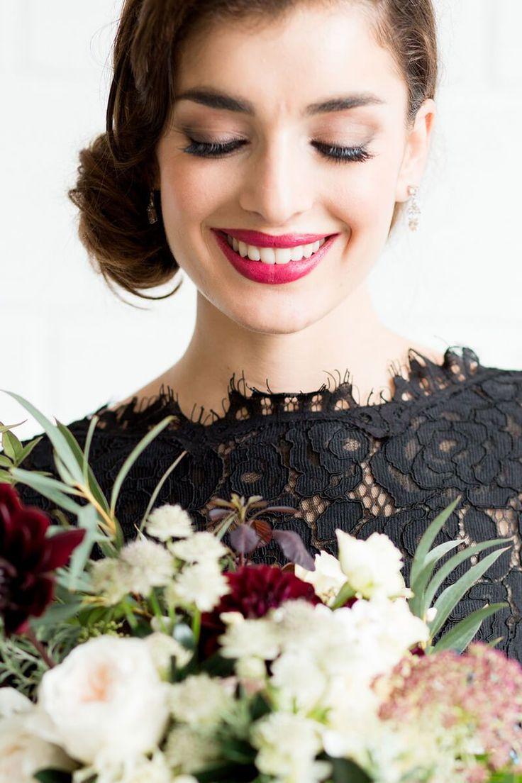 Luxe Black Greenery Wedding Inspiration - bridal makeup