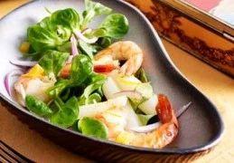 Recept voor Salade van witte asperges met veldsla en scampi's
