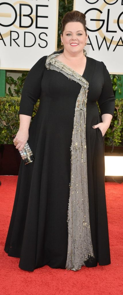 Melissa McCarthy in a somewhat structured, sparkle gown for 2014 Golden Globes. And that bold clutch . . .