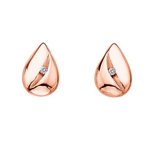 Stříbrné náušnice Hot Diamonds Shooting Stars Teardrop Rose Gold