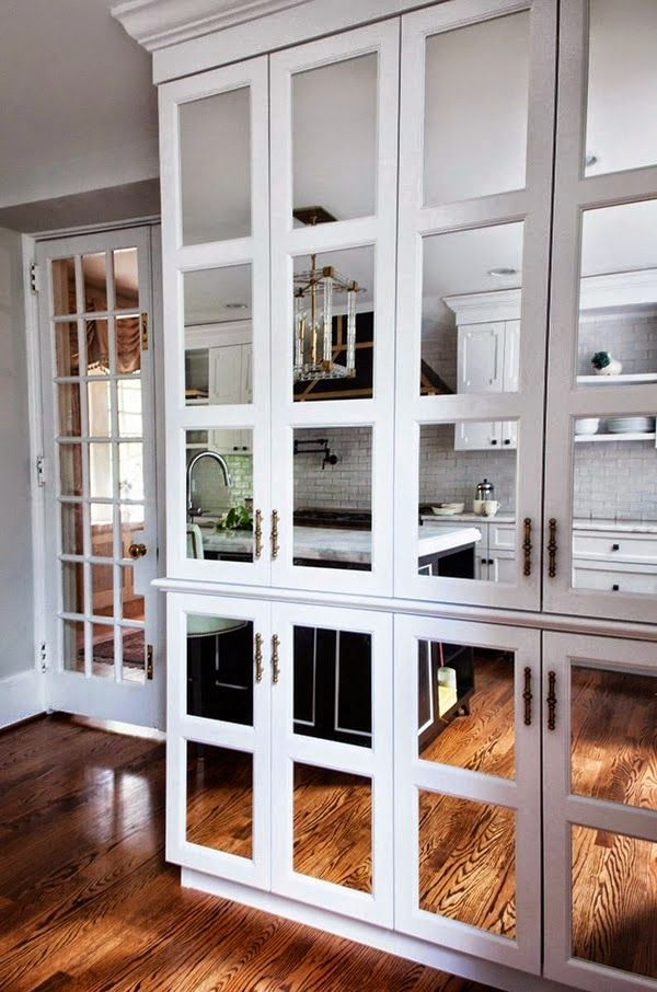 Kitchen Cabinet Doors Covered In Mirror Add Light Visual Space And A Little Bit