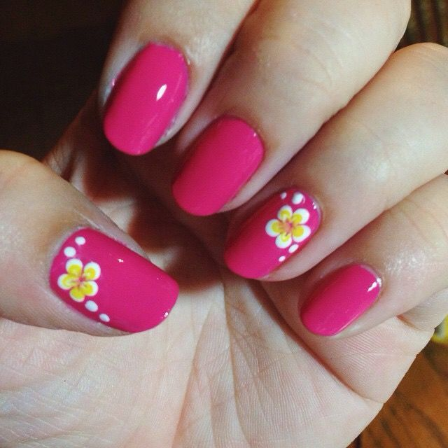 awesome My Hawaiian plumeria flower nail art over fuchsia nails...